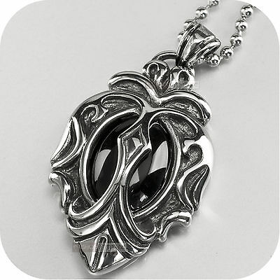 pendant necklace solid stainless steel onyx gothic vintage antique silver style