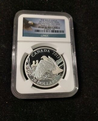 Bald Eagle NGC PR69 Ultra Cam 2013 Canada Protecting Nest 20 Dollar