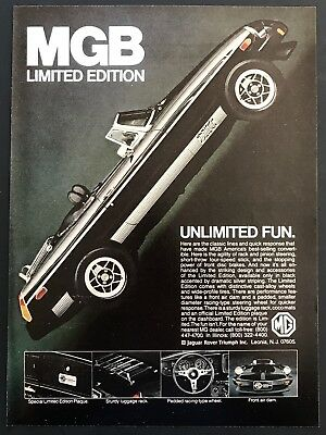 1979 Vintage Print Ad MGB Limited Edition Black Sports Car Convertible 70's