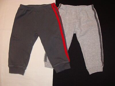 2 Pairs Carters Sweat Pants Baby Boy 12 Months, Dark Gray, Light Gray & Red