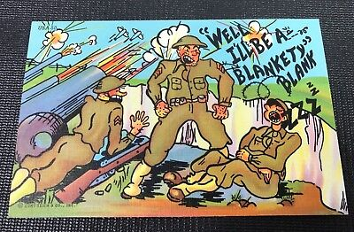 Vintage US Army Artillery Cartoon Post Card