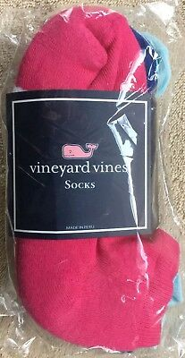 Vineyard Vines 3 pack Girl's One Size Classic Athletic Socks Aqua Navy Hot Pink