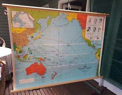 Vintage school map Pacific Ocean Chas H Scally