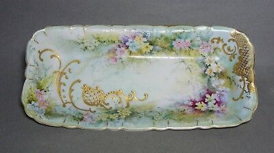 Antique Porcelain Tray w/ Hand Painted Flowers