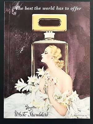 1979 Vintage Print Ad WHITE SHOULDERS Illustration Art Perfume Flowers Purple