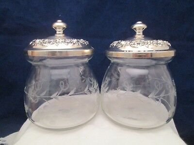 S. Kirk & Son Repousse Sterling Silver Etched Jelly Mustard Jar Condiment Pair