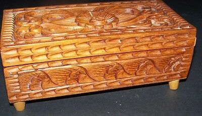 Exotic HAND CARVED KEEPSAKE BOX WITH RED VELVET INTERIOR created in Thailand