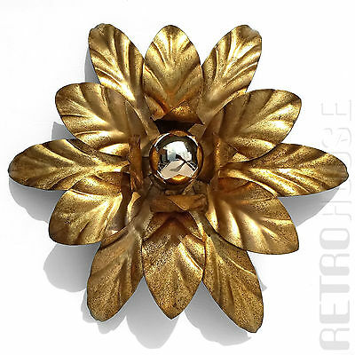 Vintage Wall Ceiling Light Florentine Lamp Golden Leaves Mid-Century Italy ❤️