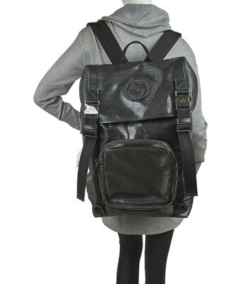 Gucci Silver GG Coated Canvas Interlocking G Supreme  Backpack