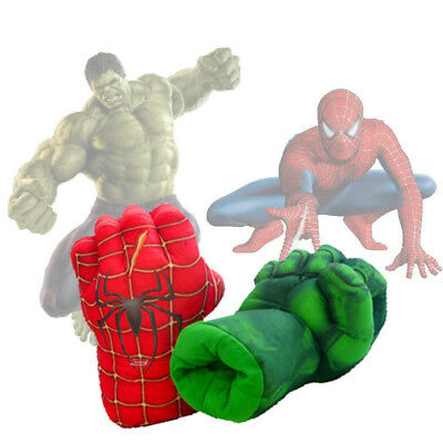 Spiderman Gloves The Hulk Boxing Plush Hero Fist Party Kid Cosplay Props Toy HOT
