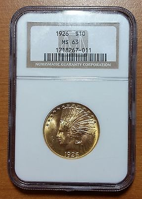 1926 $10 Indian Head Gold Eagle, Motto On Reverse NGC MS63