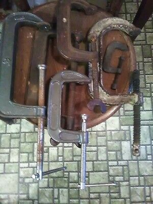 """lot of (6) heavy duty cast iron industrial """"C"""" clamps: assorted sizes:+8""""-6""""-5""""+"""