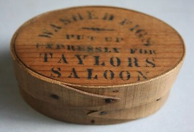"""Extremely Rare! Tiny Fig Pantry Box Early 19Th C, Stamped """"taylors Saloon"""""""