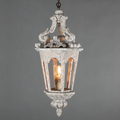 Vintage Carved Wood Hanging Lantern Light Single Pendant Lamp in Antique Gray