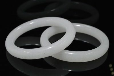 61mm beautiful bangle Natural Chinese white jade hand-carved bracelet