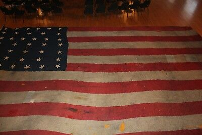 Rare Antique US American 38 Star Garrison Flag 34' x 20' 1876-1889 Leavenworth