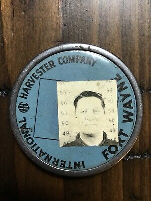 Authen. IH International Harvester Fort Wayne Works Employee ID Badge / Pin Back