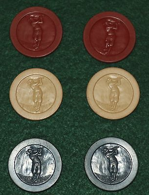 Lot of 6 Golfer in Knickers Antique Vtg Embossed Clay Poker Chips Ball Markers