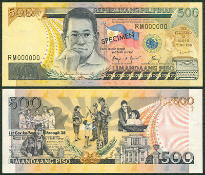 Philippine NDS 500 Pesos SPECIMEN Cory-Singson RM000000 Banknote