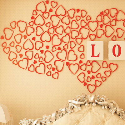 RED Wooden Art heart-shaped 3D Wall Stickers DIY Home Wall Room ...