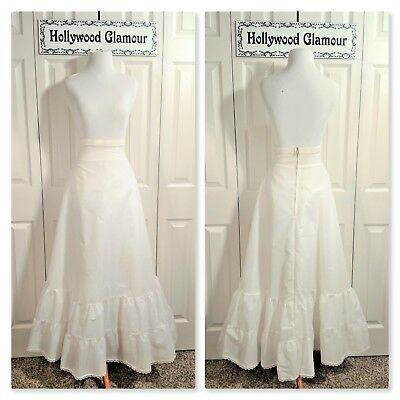 VINTAGE 70s Bridal Ball Gown Formal Occasions White Petticoat Underskirt Slip 12