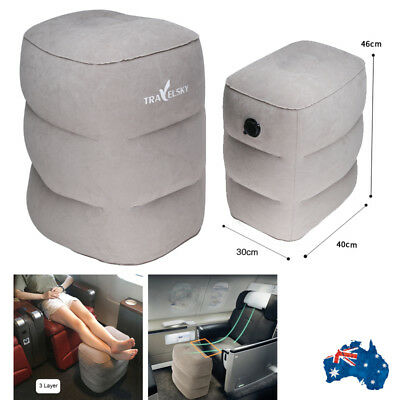 Inflatable Foot Cushion Home Rest Pillow Comfortable Flight Travel Legs Pad Grey
