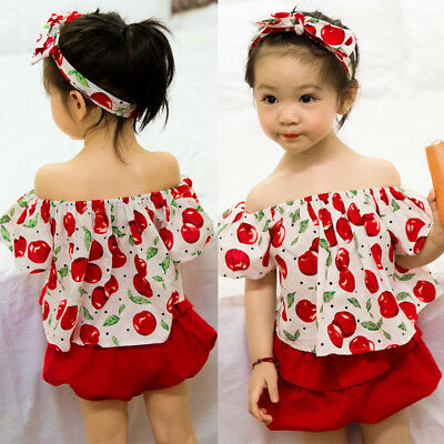 Newborn Baby Girl Cherry Flying Sleeve Off Shoulder Blouse Shorts Pants Outfits