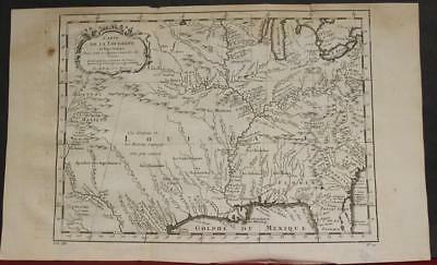 Louisiana Mississippi Valley United States 1757 Bellin Antique Engraved Map