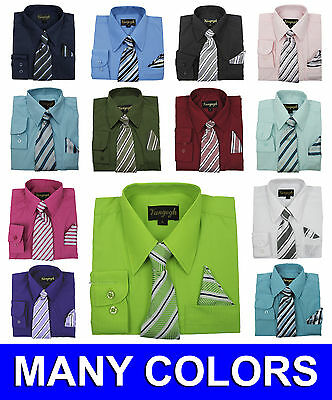 Boys Dress Shirt with Matching Tie and Hanky New Vangogh Sizes 2T to 20