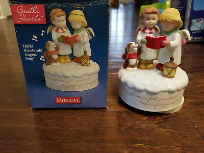 """American Greetings Gentle Heart Collection """"Hark! the Herald Angels"""" Music Box"""