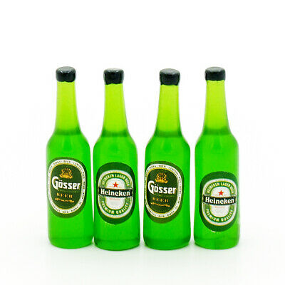 4PCS Green Beer Bottle Miniature Beverage Drink 1:12 Dollhouse Decor Collectible