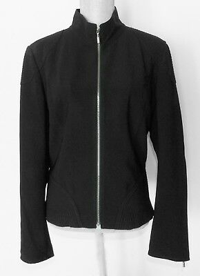 St.John jacket, golden front zip and sleeves zippered, Size 12,Black