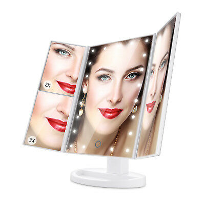 ISASSY Miroir Maquillage 21 LEDs Grossissant Lumineux Adjustable Lampe Table