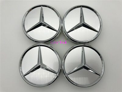 4 PCS 75mm Silver Wheel Center Hub Caps Cover Badge Emblem For Mercedes Benz New