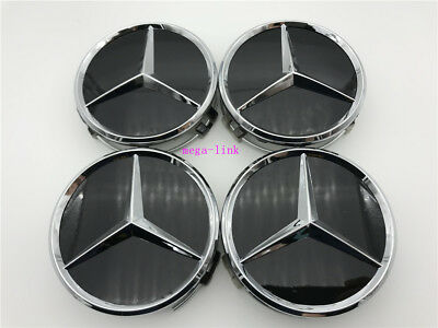 4 PCS 75mm Black Wheel Center Hub Caps Cover Badge Emblem For Mercedes Benz New