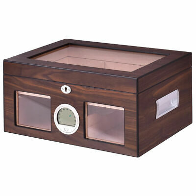 50-100 Cigar Humidor Storage Box Desktop Glasstop Humidifier Hygrometer Lockable