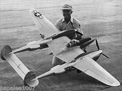 """Model Airplane Plans (RC): LOCKHEED P-38 L LIGHTNING 1/6 Scale 94""""ws .60 Engines"""