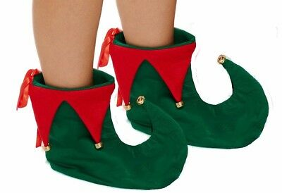 Deluxe Green & Red Elf Jester Pixie Shoes Boots Christmas Fancy Dress Accessory