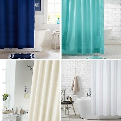 Extra Long Fabric Shower Curtain Waterproof With Hooks Weighted Hem 180 X 200Cm