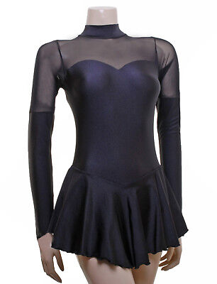 Skating Dress -BLACK LYCRA/MESH -LONG SLEEVE  ALL SIZES AVAILABLE