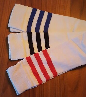 Ladies White Stripey Knee High 3 Colours Athletic Sports Fancy Dress Socks 4-7
