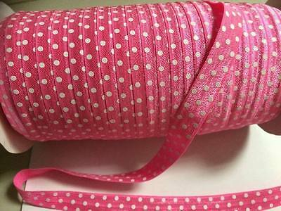 """Pink & white dots (FOE) Fold over elastic 5/8"""" sold by 2 M"""