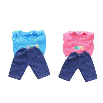 2x Sweater Top+Jeans Pants Set for 18'' American Girl My Life Dolls Clothes