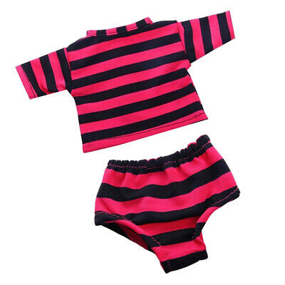 Round Neck Striped T-shirt & Underwear for 18'' AG American Doll Dolls Rose Red