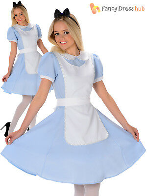 Ladies Fairytale Alice Costume Adults Wonderland Fancy Dress Womens Book Outfit