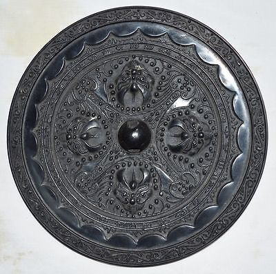 China Old Big Official Bronze Dressing Mirror Carved Four Beast Head Statue 四兽镜