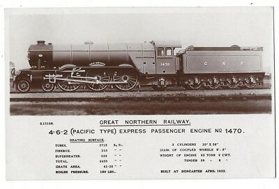 GNR Great Northern Railway Pacific Type Engine #1470, RP Postcard by Kingsway