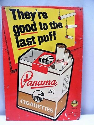 Vintage Panama Cigarettes Tin Advertising Sign Tobacciana Smoking Collectibles