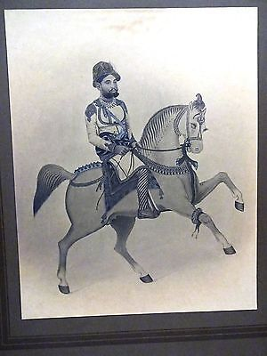 Antique Miniature Painting Sawari  Vintage Charcoal  Drawing Indian King Nice