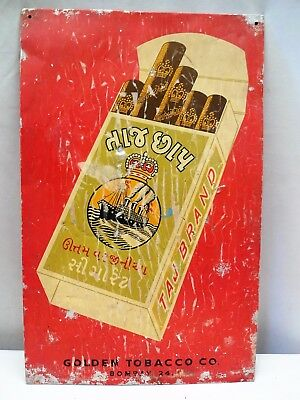 Vintage Virgina Cigarettes Tin Advertising Taj Brand Sign Tobacciana Collectible